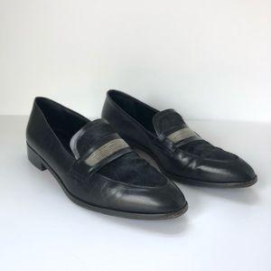 Delman Belia Black Leather Calf Hair Loafers 9M